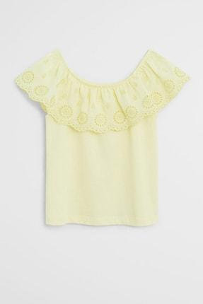 MANGO Kids Kız Çocuk Sarı Açık Yaka Lazer kesim Detaylı Bluz