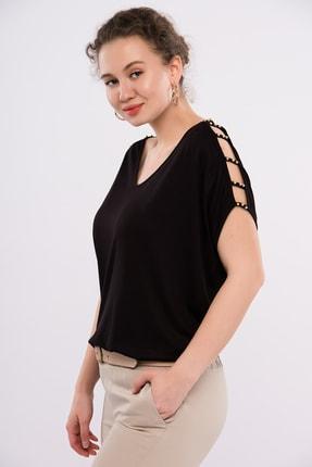 Şans Kadın Büyük Beden Siyah Omuz Dekolteli İnci Detaylı Viskon Bluz 65N15453