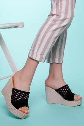 MUGGO Kadın Siyah Topuklu Terlik Ays70