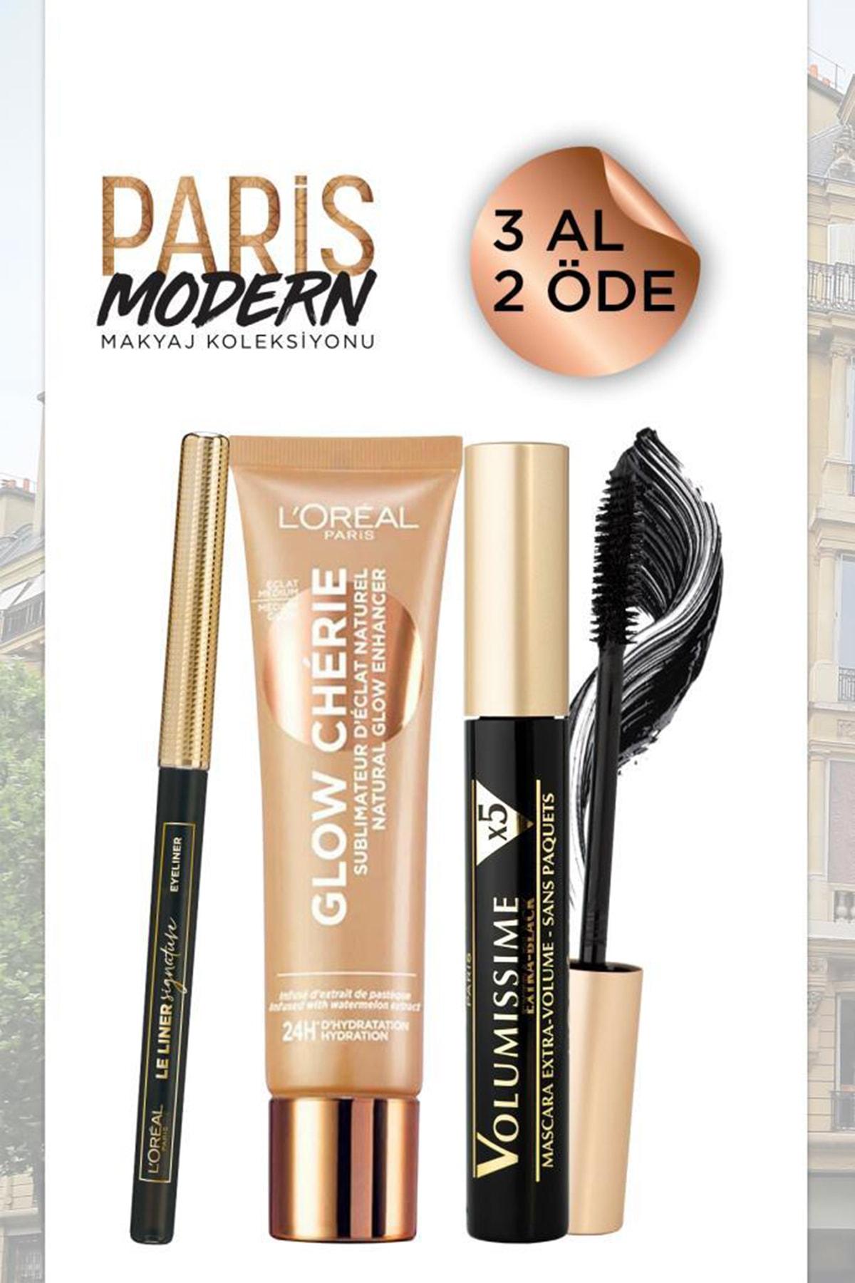 L'Oreal Paris Voluminous Carbon Black Mascara&Glow Cherie Highlight 02&Le Liner Signature 01 36005210180951
