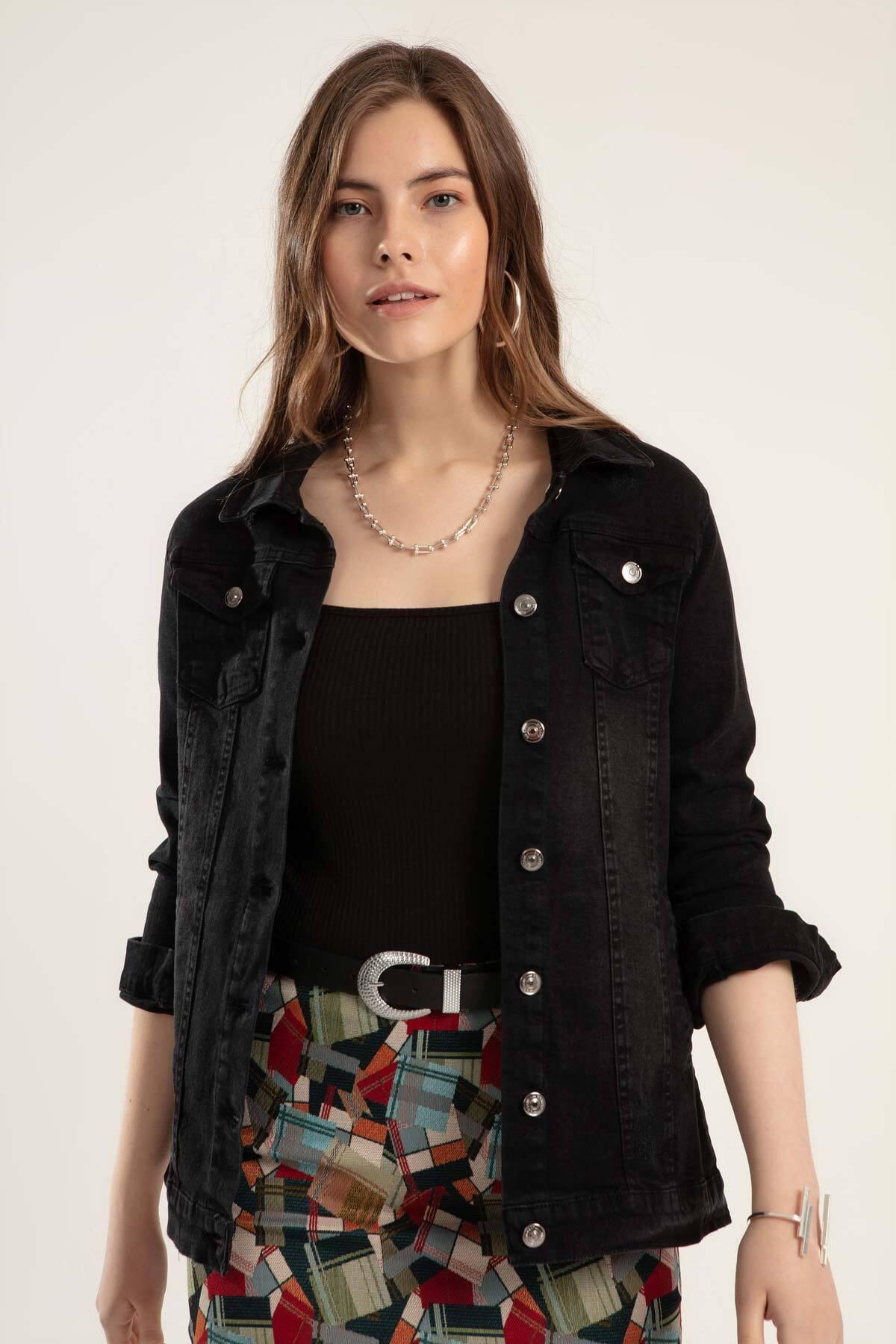 Y-London Kadın Siyah Düğmeli Kot Ceket Y20S110-0616 1
