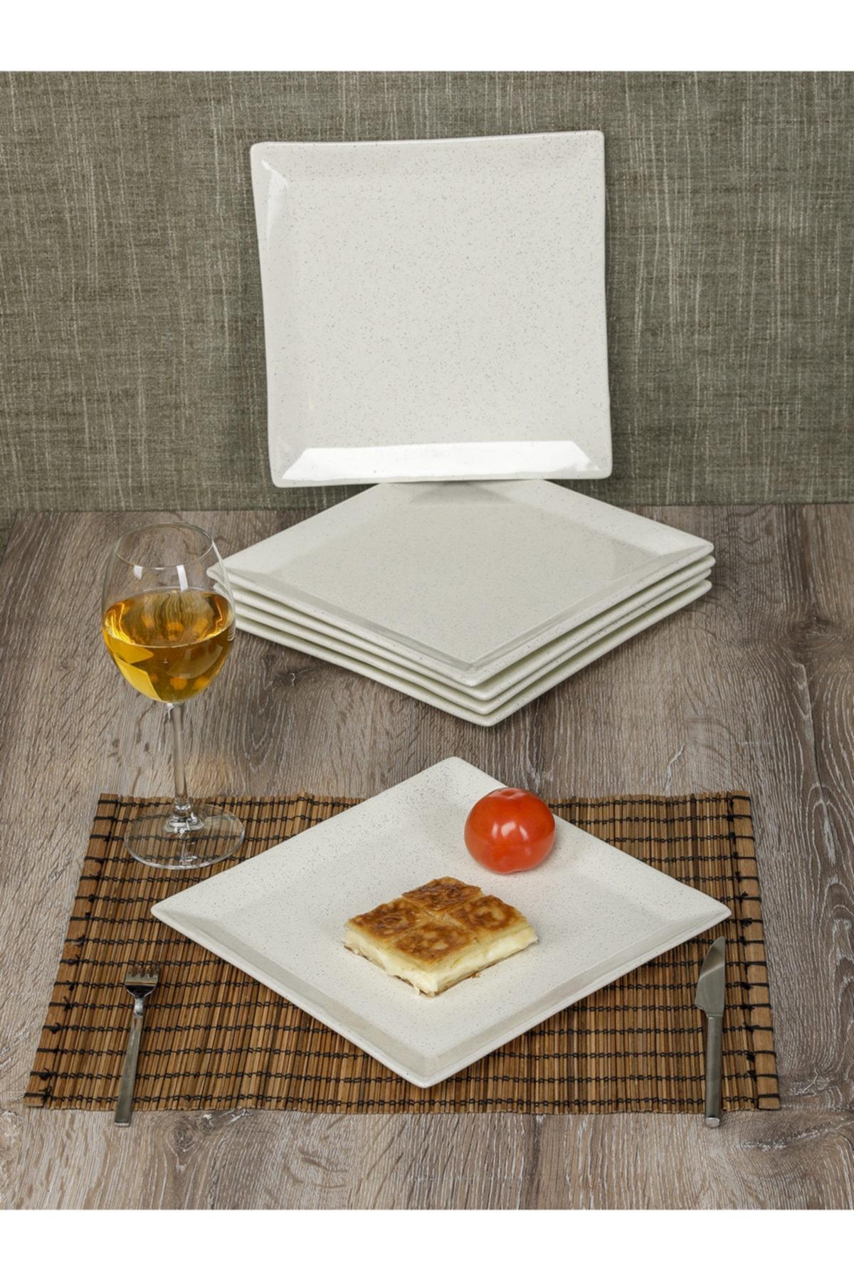 MHK Collection Granit Desenli Kare 6 Kişilik Büyük Servis Sunum Tabağı Beyaz 1