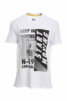 DeFacto Fit Erkek Beyaz Baskılı Sporcu T-Shirt