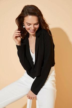 DeFacto Kadın Siyah Düğme Detaylı Blazer Ceket R1430AZ.20SP.BK27