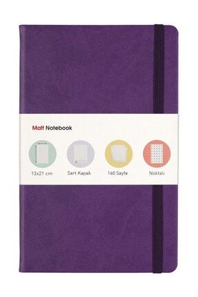 Matt Notebook Lastikli Defter Noktalı Mor  13x21  cm.