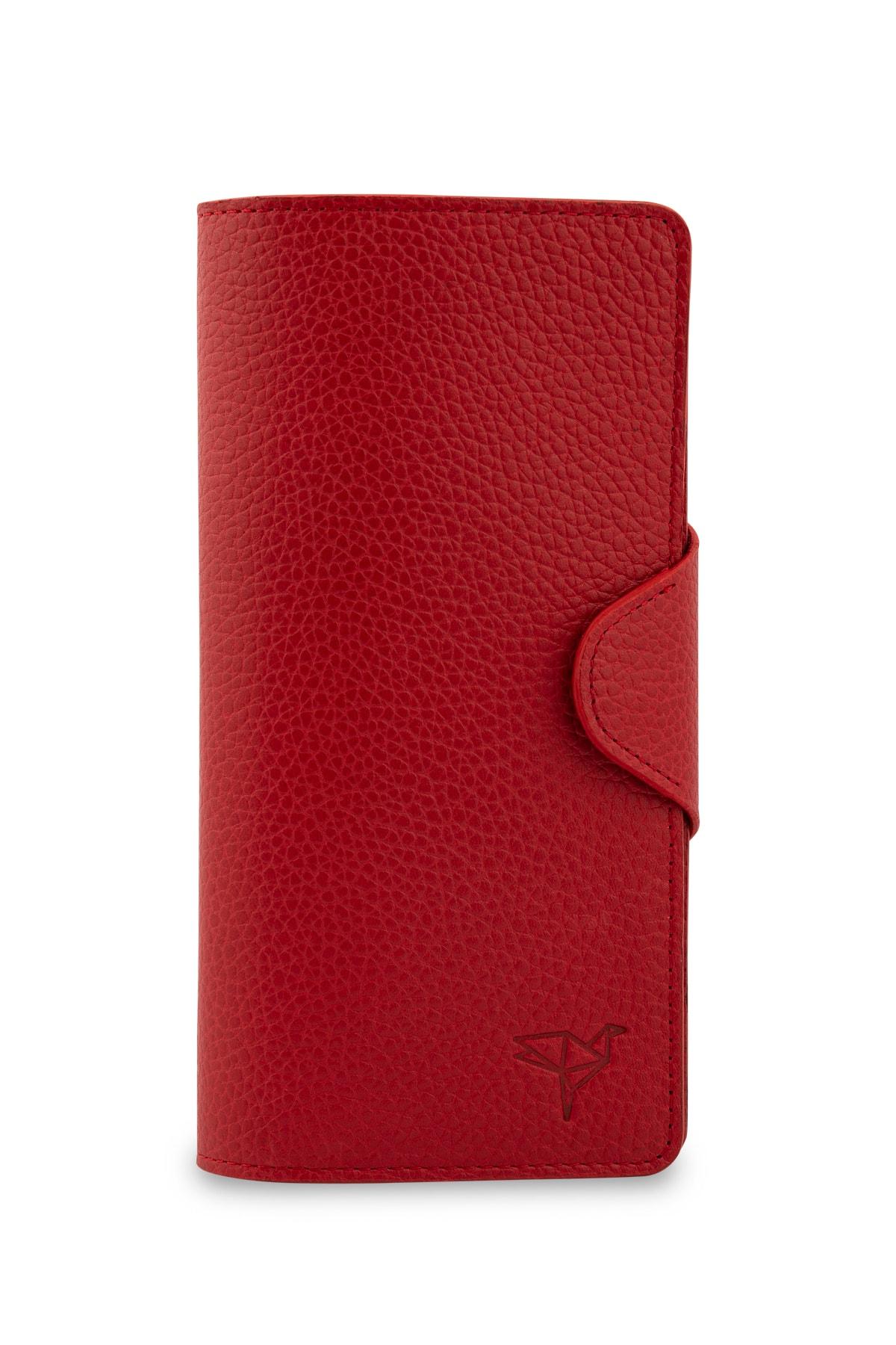 Garbalia Martha Hakiki Deri Kırmızı Unisex Portföy Cüzdan 1