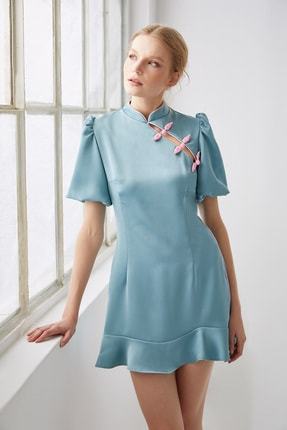 Urban Muse Kadın Cheongsam Mini Elbise