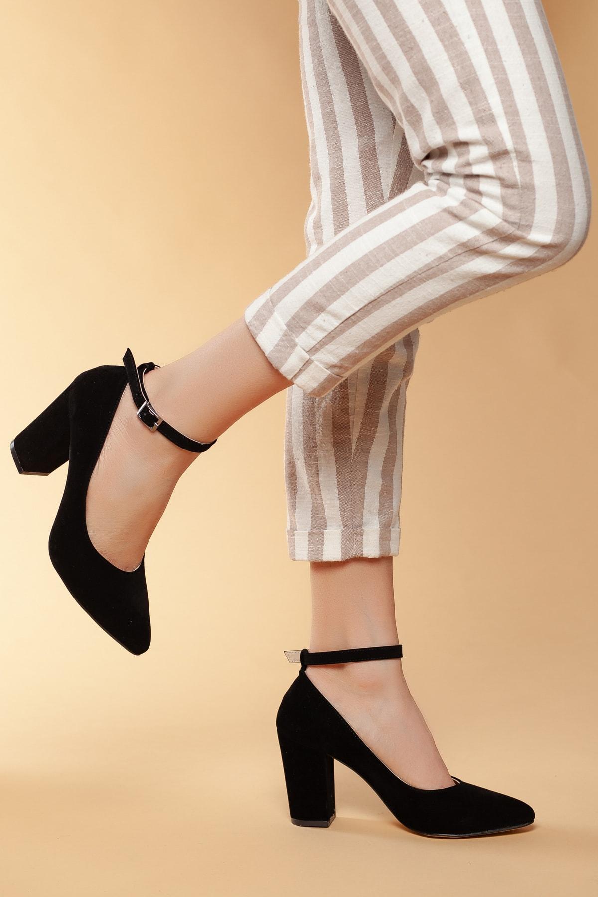 Daxtors Siyah-Süet Kadın Klasik Topuklu Ayakkabı DXTRSWMNYK715 1