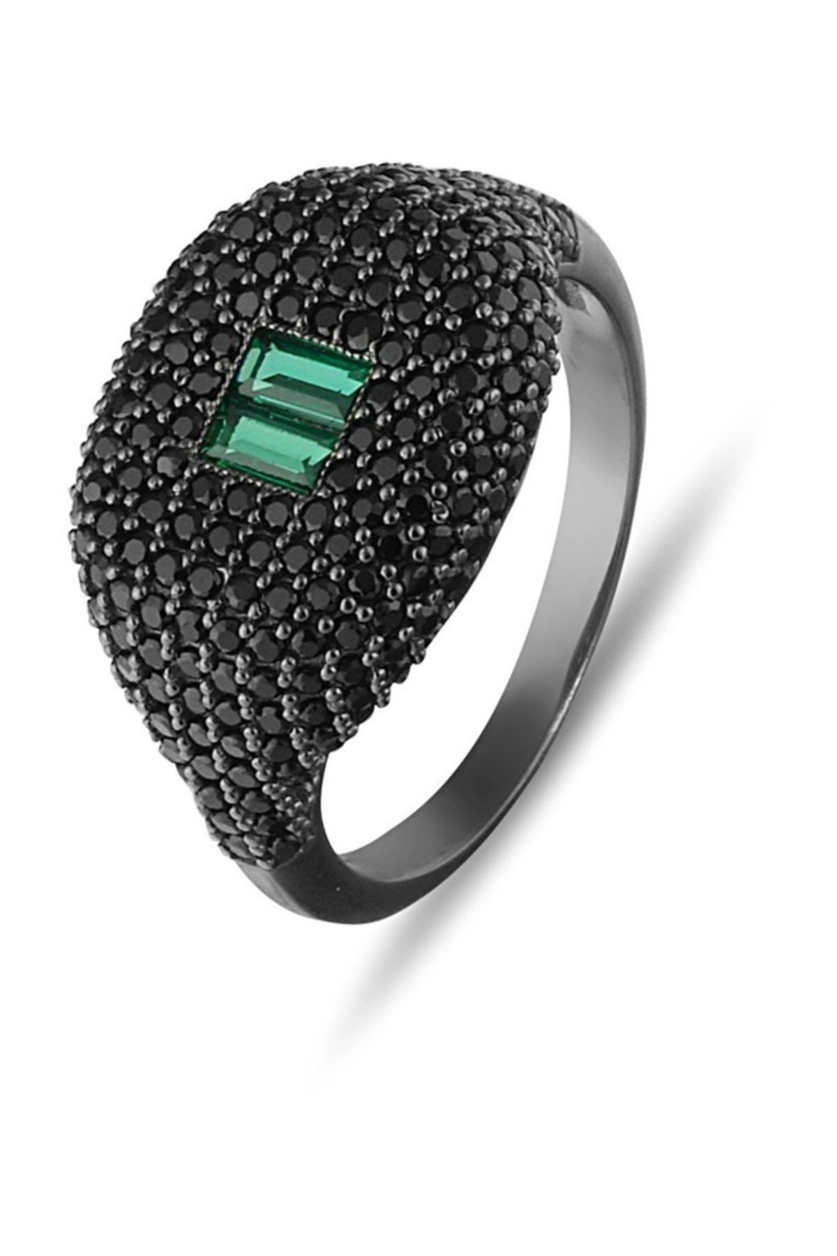 MySilvers Yeşil Baget Taşlı Tasarım Gümüş Yüzük 1