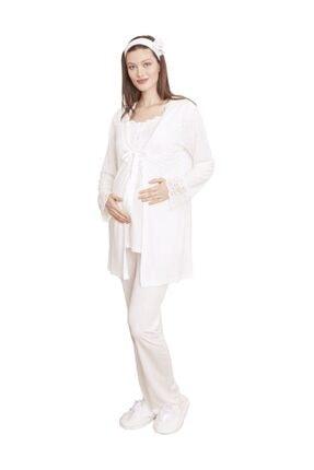 Mecit Pijama Sabahlıklı Hamile Lohusa Pijama Takımı 5002