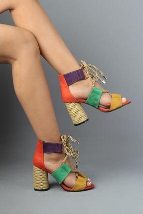 Modabuymus Turuncu Multi Halat Bağcıklı Topuklu Kadın Ayakkabı - Offex