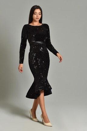Modakapimda Kadın Siyah Pul Payet Eteği Volanlı Abiye Elbise 3313MKSP