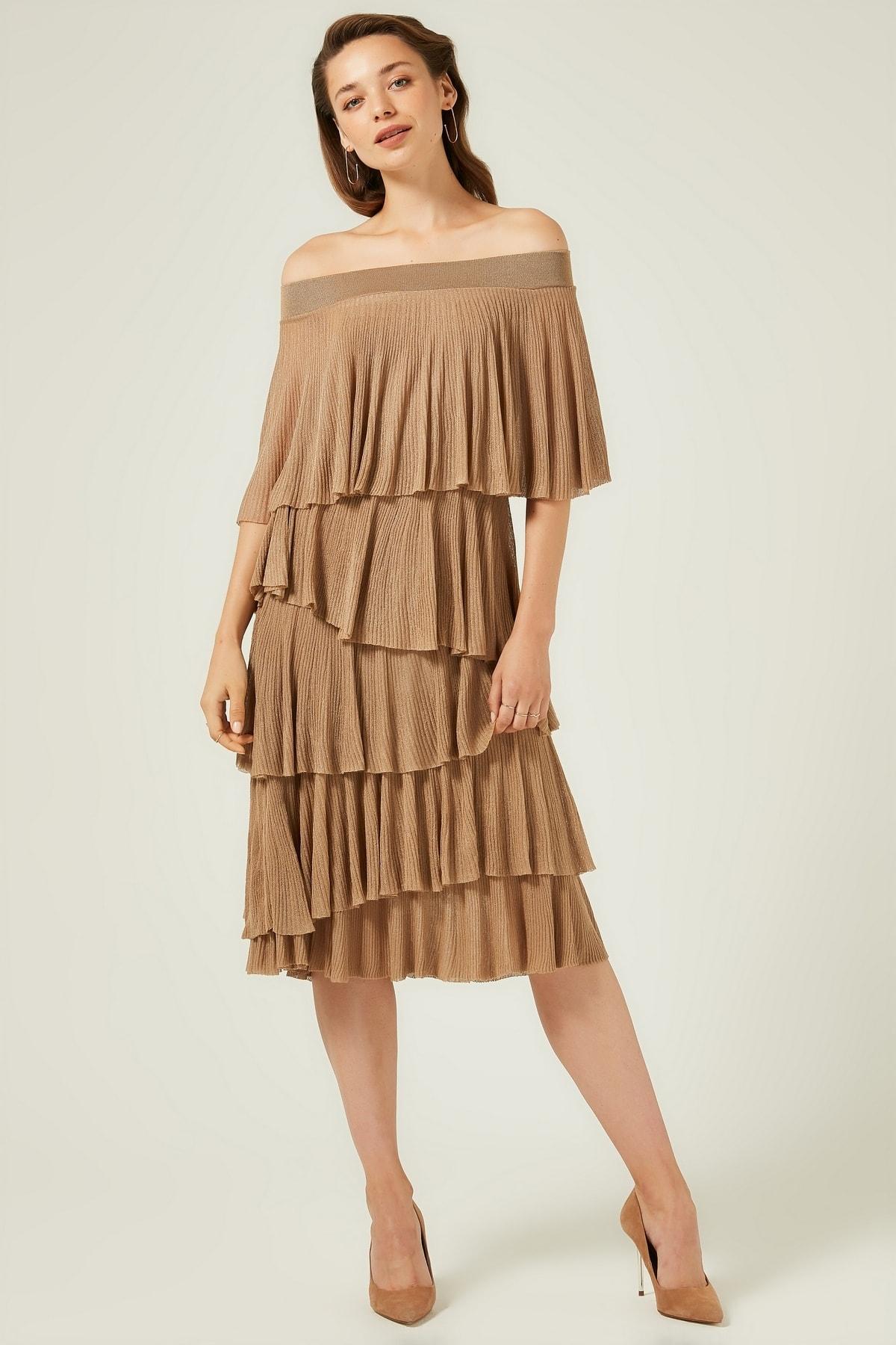 JOIN US Kadın Camel Fırfırlı Bardod Triko Elbise 2020S098 1