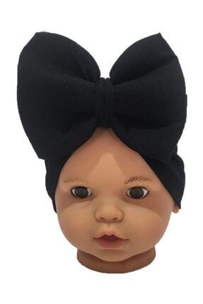 ÖZLEM BEBE Siyah Fiyonklu Kız Bebek Bone