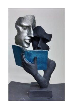 By Ari Ev Dekorasyon Kitap Okuyan Çift Biblo
