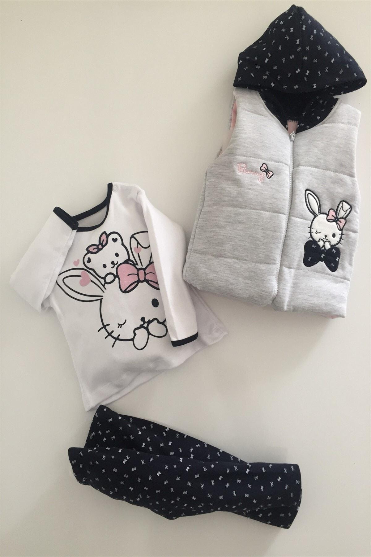 Hippıl Baby Kız Bebek Çocuk Alt Üst Yelek Bunny 3 Parça Takım 6-12-18 Ay 1
