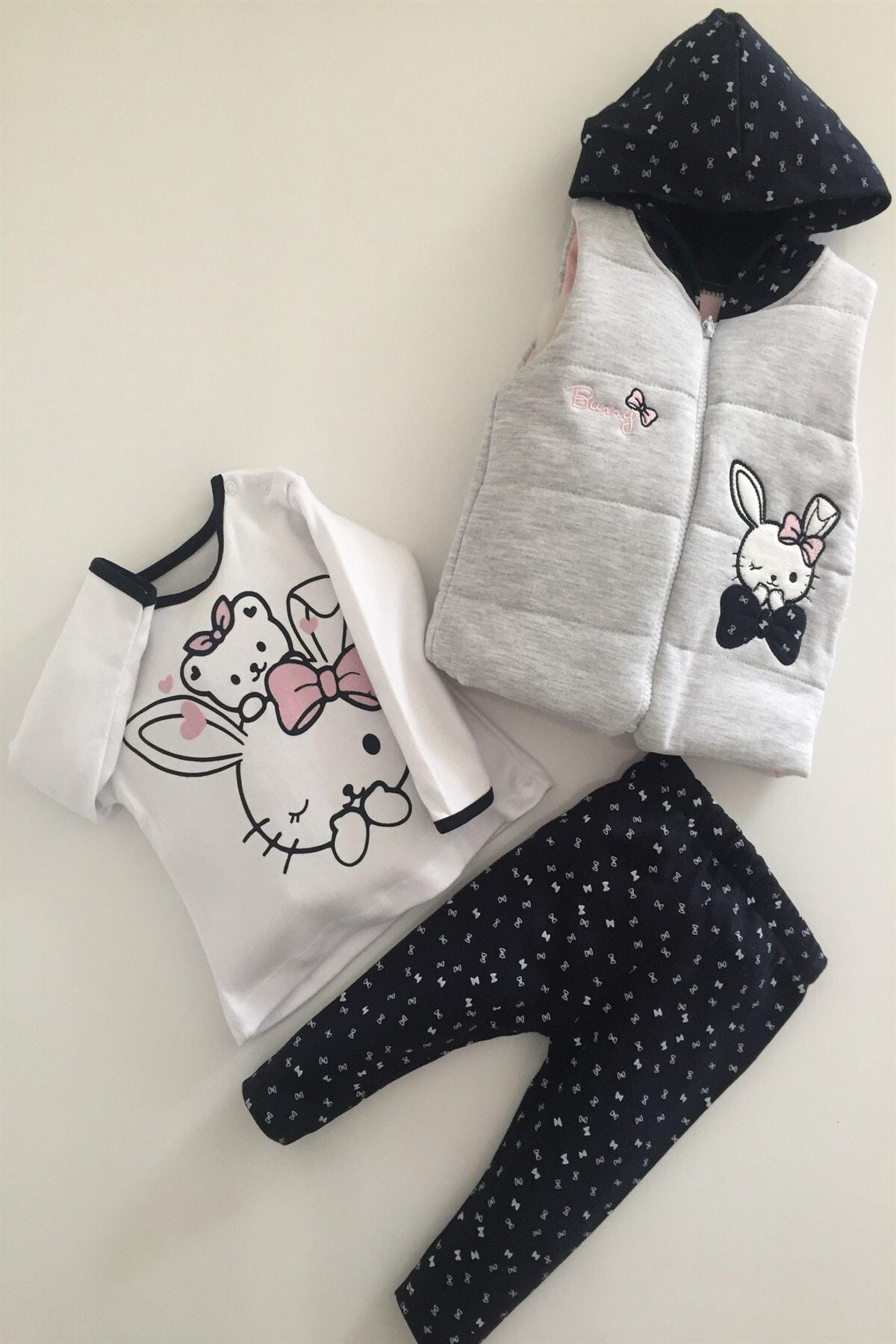 Hippıl Baby Kız Bebek Çocuk Alt Üst Yelek Bunny 3 Parça Takım 6-12-18 Ay 2