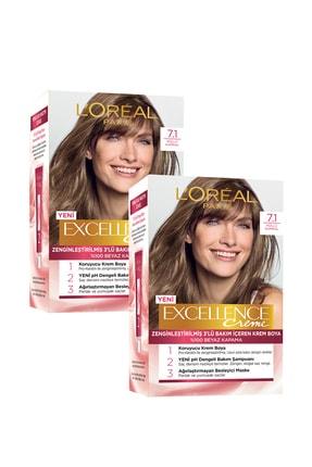 L'Oreal Paris Excellence Creme Saç Boyası 7.1 Kumral Küllü 2'li Set 86905953571642