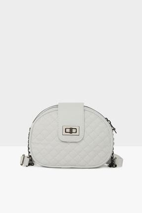 Bagmori Beyaz Kadın Üç Fermuarlı Kilitli Çanta M000003518