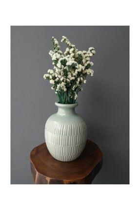 Kuru Çiçek Deposu Yeşil Dallı Beyaz Şoklanmış Statis Kuru Çiçek Demeti (dökülme Yapmaz)