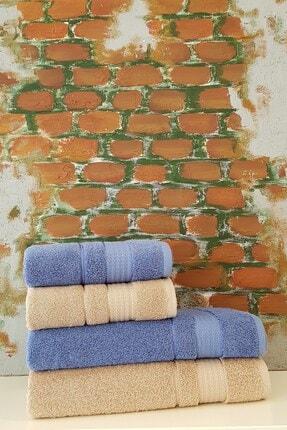 Özdilek Trendy 4 Parça Banyo Havlu Seti - Koyu Mavi Bej