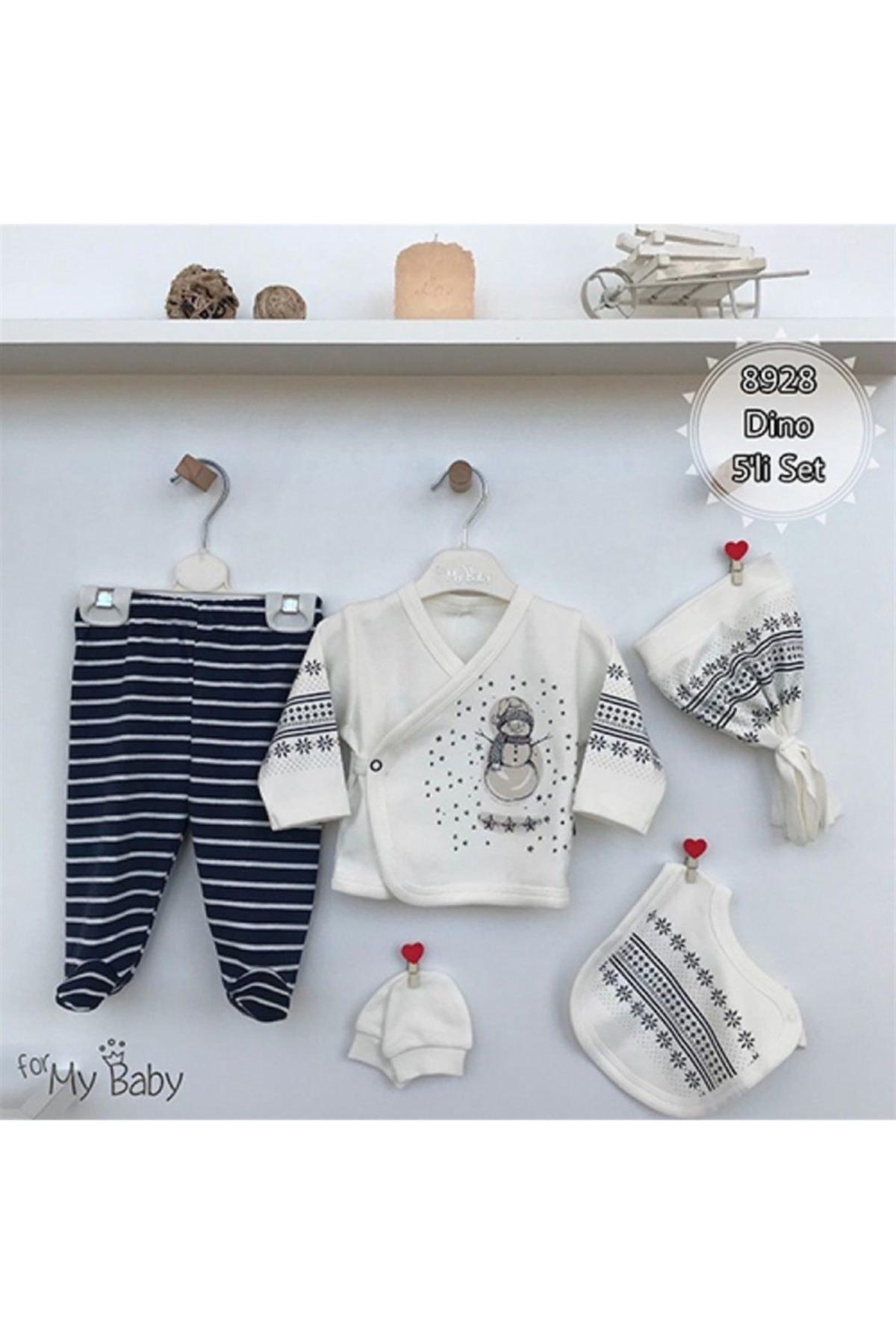For My Baby 8928 Dino Erkek Bebek 5'li Hastane Çıkış Seti 1