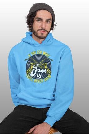 Angemiel Wear Jazz Ve Saksafon Mavi Erkek Kapüşonlu Sweatshirt Çanta Kombin