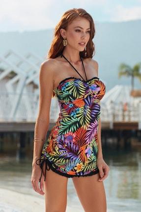Pierre Cardin Kadın Korseli Soft Straplez Elbise Mayo 201115 Desenli