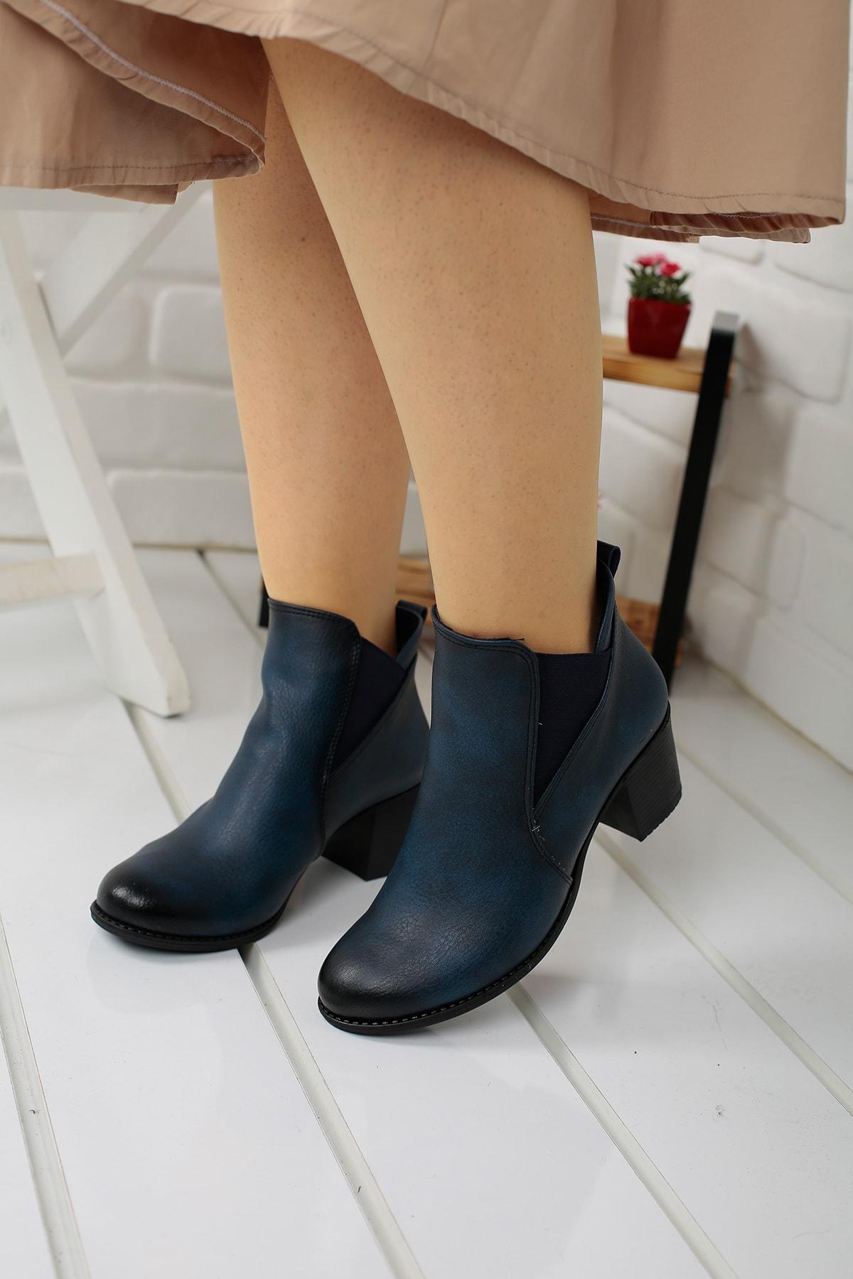 Ayakland 8422-833 Lacivert Cilt Kadın Bot Ayakkabı 1