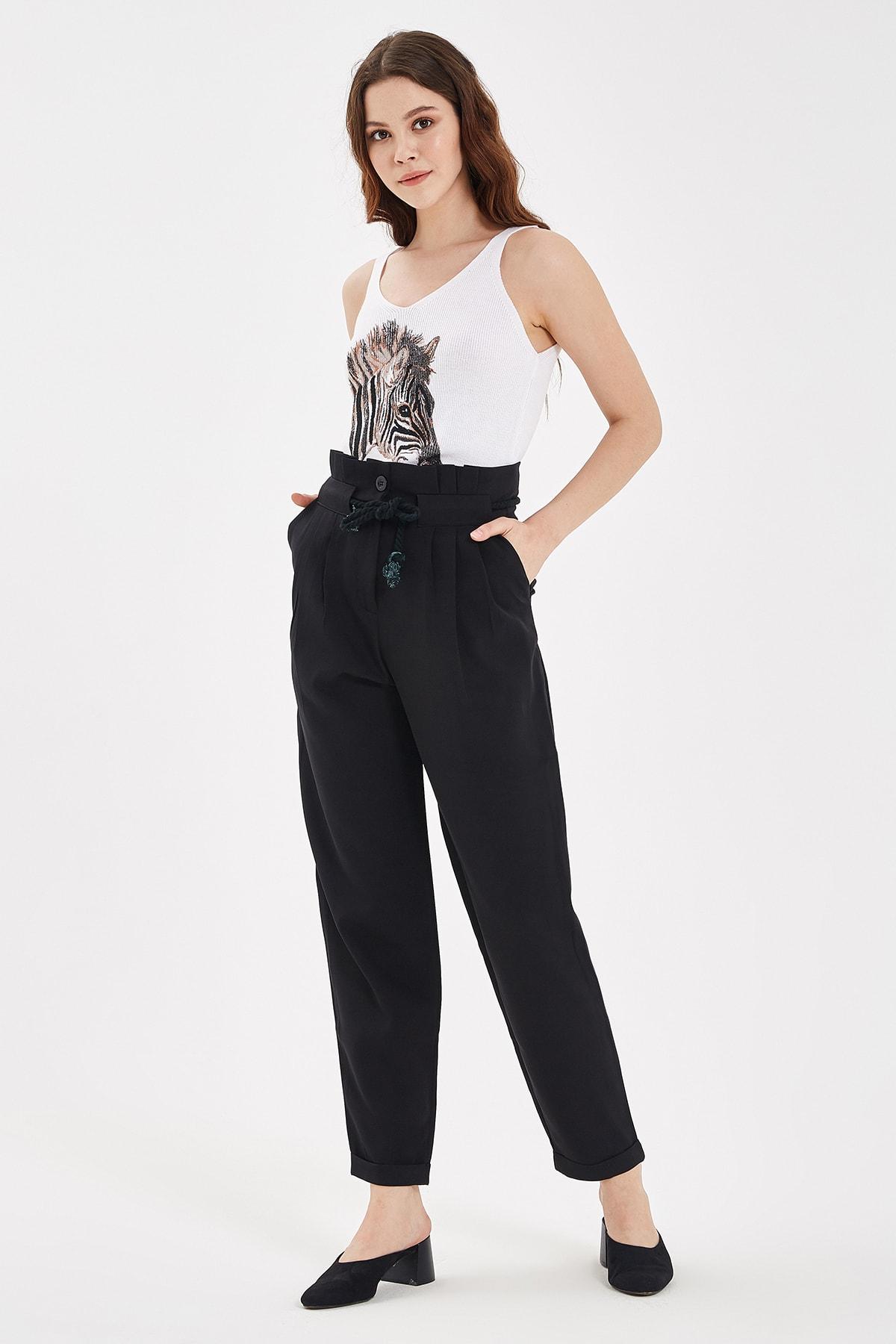 Nisan Triko Siyah Bağlama Detaylı Pantolon 1