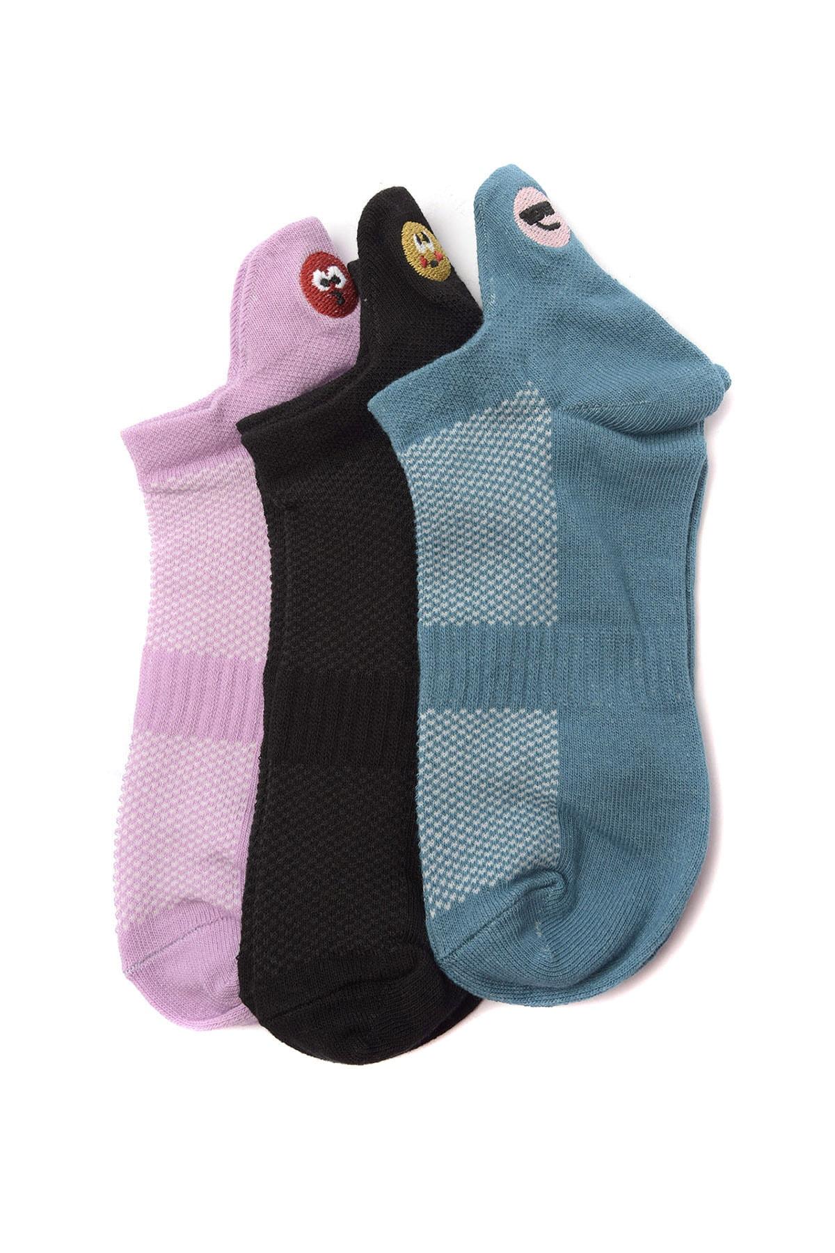 TRENDYOLMİLLA Çok Renkli 3'lü Emoji Nakışlı Örme Çorap TWOSS20CO0049 1