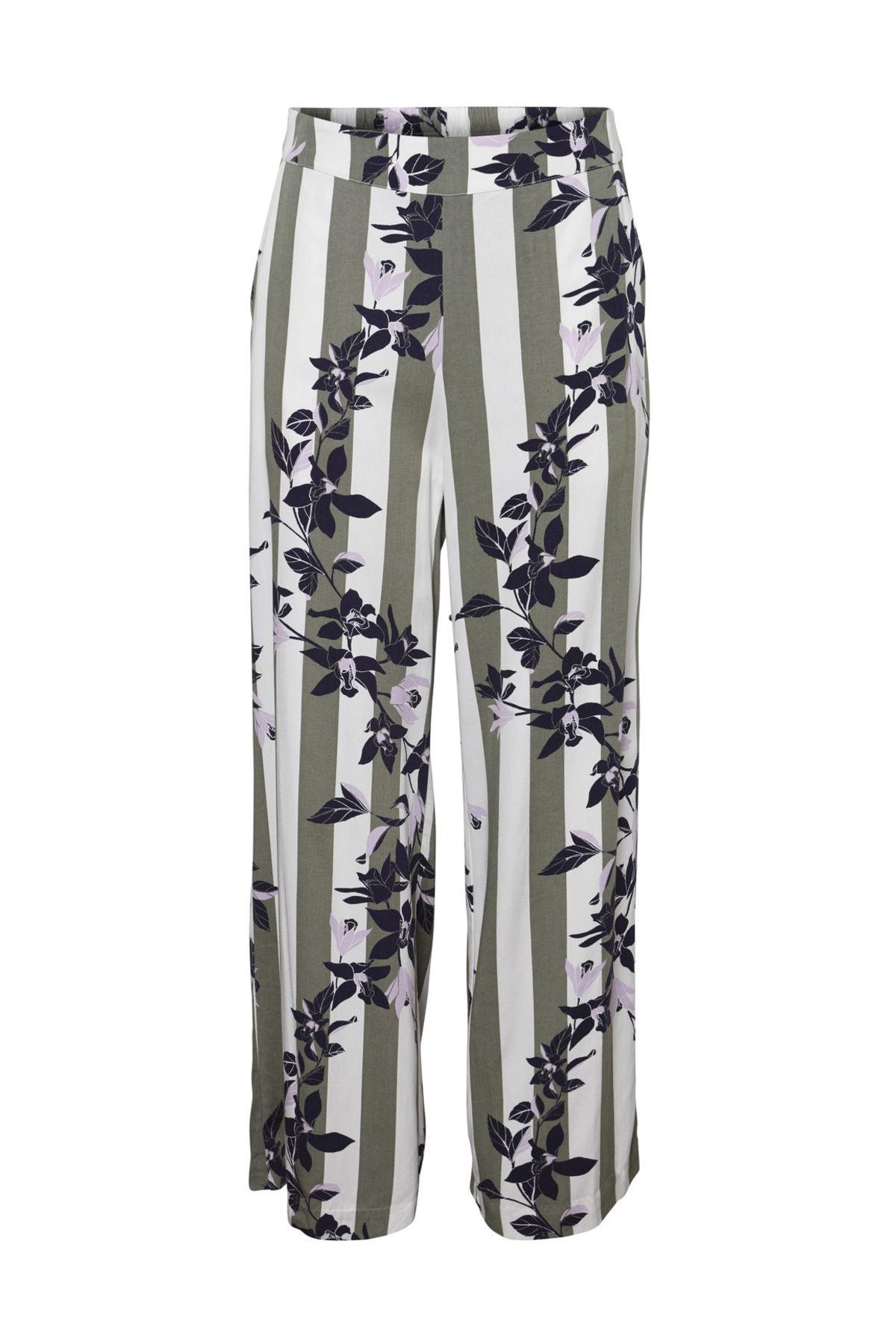 Vero Moda Kadın Yeşil Çizgili Bol Kesim Dokuma Pantolon 10213724 VMVILJA 1