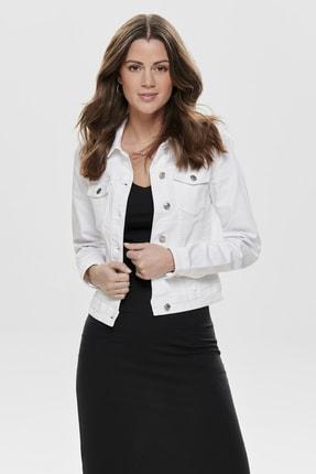 Only Kadın Beyaz Beyaz Denim Ceket 15177238 ONLTIA
