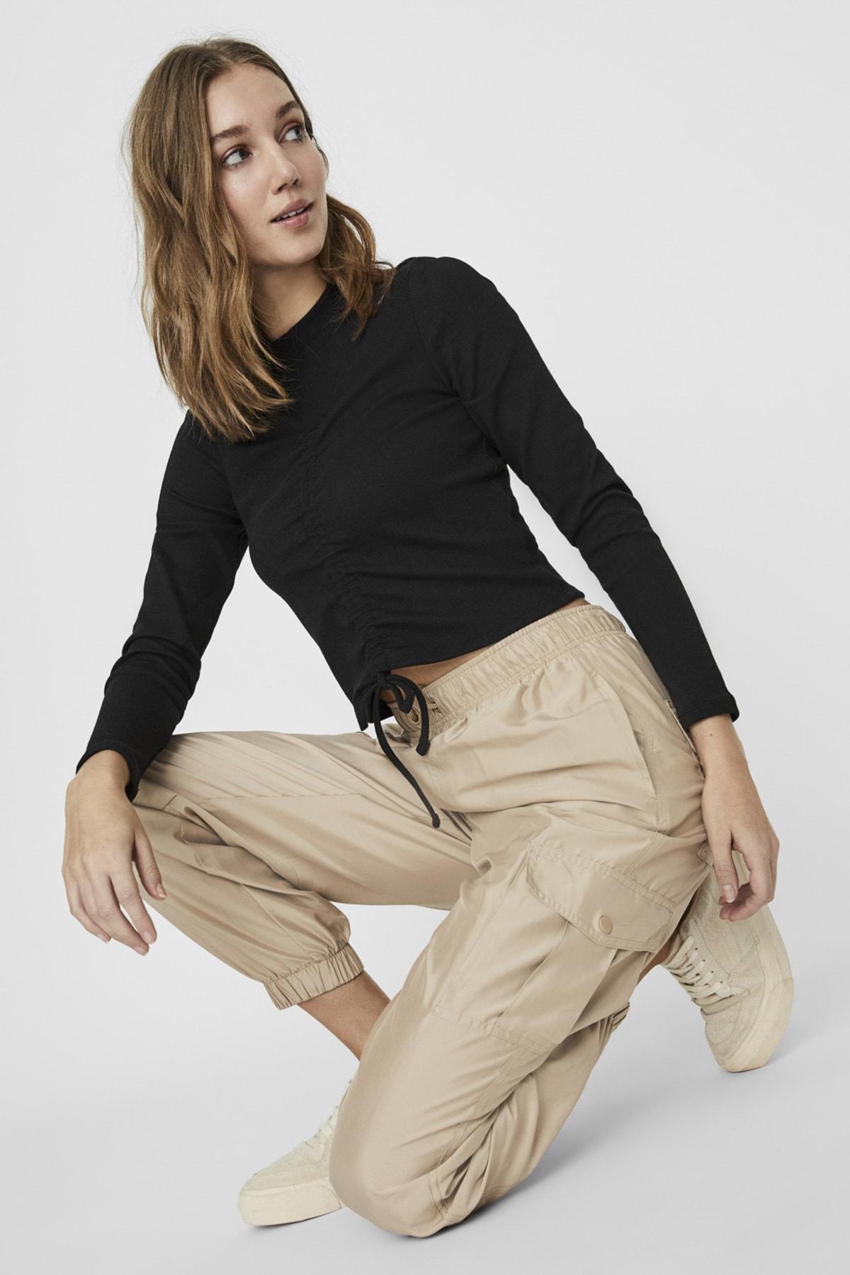 Vero Moda Kadın Bej Paçası Lastikli Paraşüt Kumaş Pantolon 10225923 VMSIENNA 2