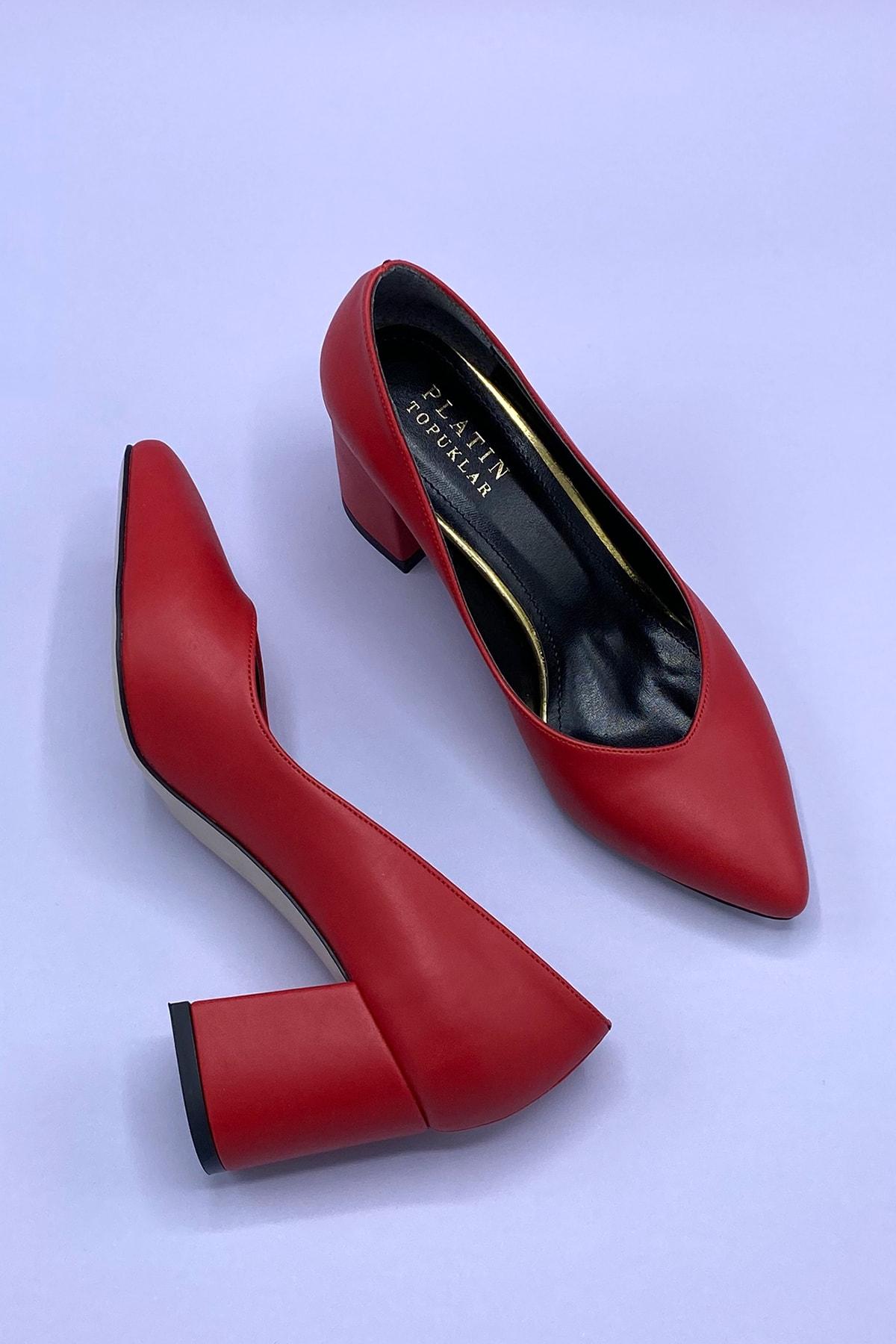 Platin Topuklar Kırmızı Topuklu Kadın Ayakkabı 1