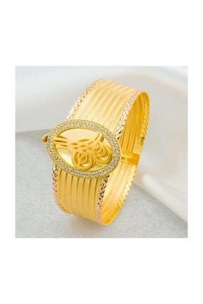 Bilezikci Oval Tuğralı Taşlı Hasır Altın Bilezik