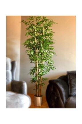 Nettenevime Yapay Bambu Ağacı 2 Metre Yoğun Yapraklı Galvaniz Saksılı