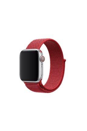 Gate Desenli Apple Watch 1 2 3 4 5 Için Kırmızı 40 mm Nike Loop Model Kayış Cırtlı