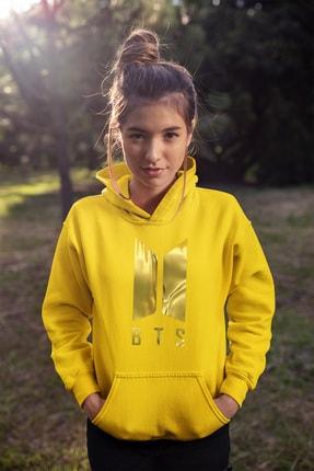 Angemiel Wear Bts Kore Sarı Kadın Kapüşonlu Sweatshirt Çanta Kombin