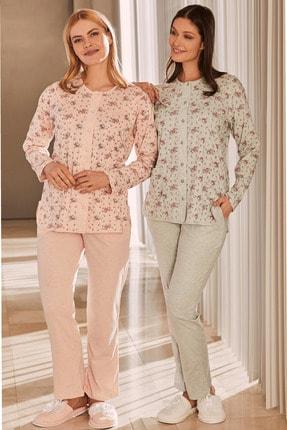 By Mecit Pijama By Mecit 5265 Büyük Beden Önden Düğmeli Kadın Pijama Takımı - Pudra