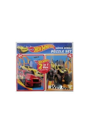 HOT WHEELS Lisanslı 70+54 Parça Çocuk Puzzle 2'li Yapboz