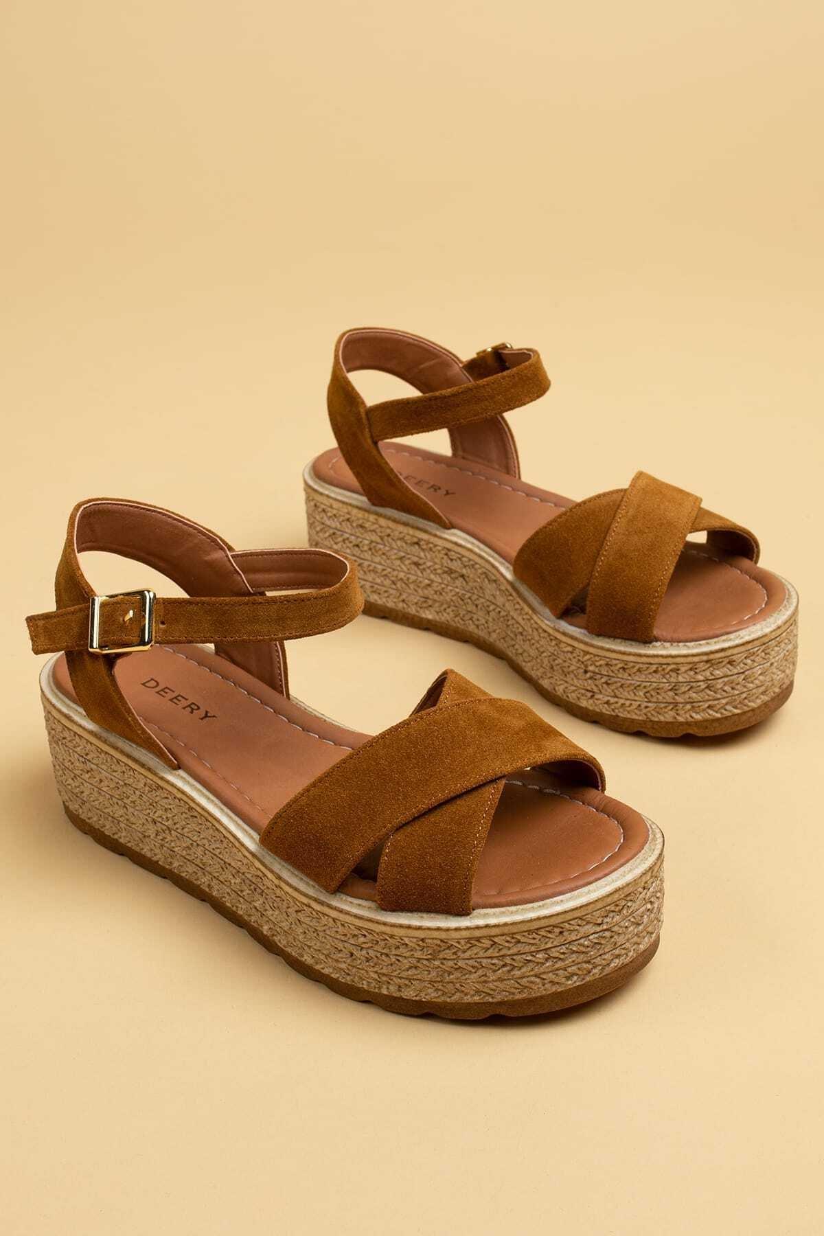 Deery Hakiki Süet Taba Rengi Kadın Sandalet 1
