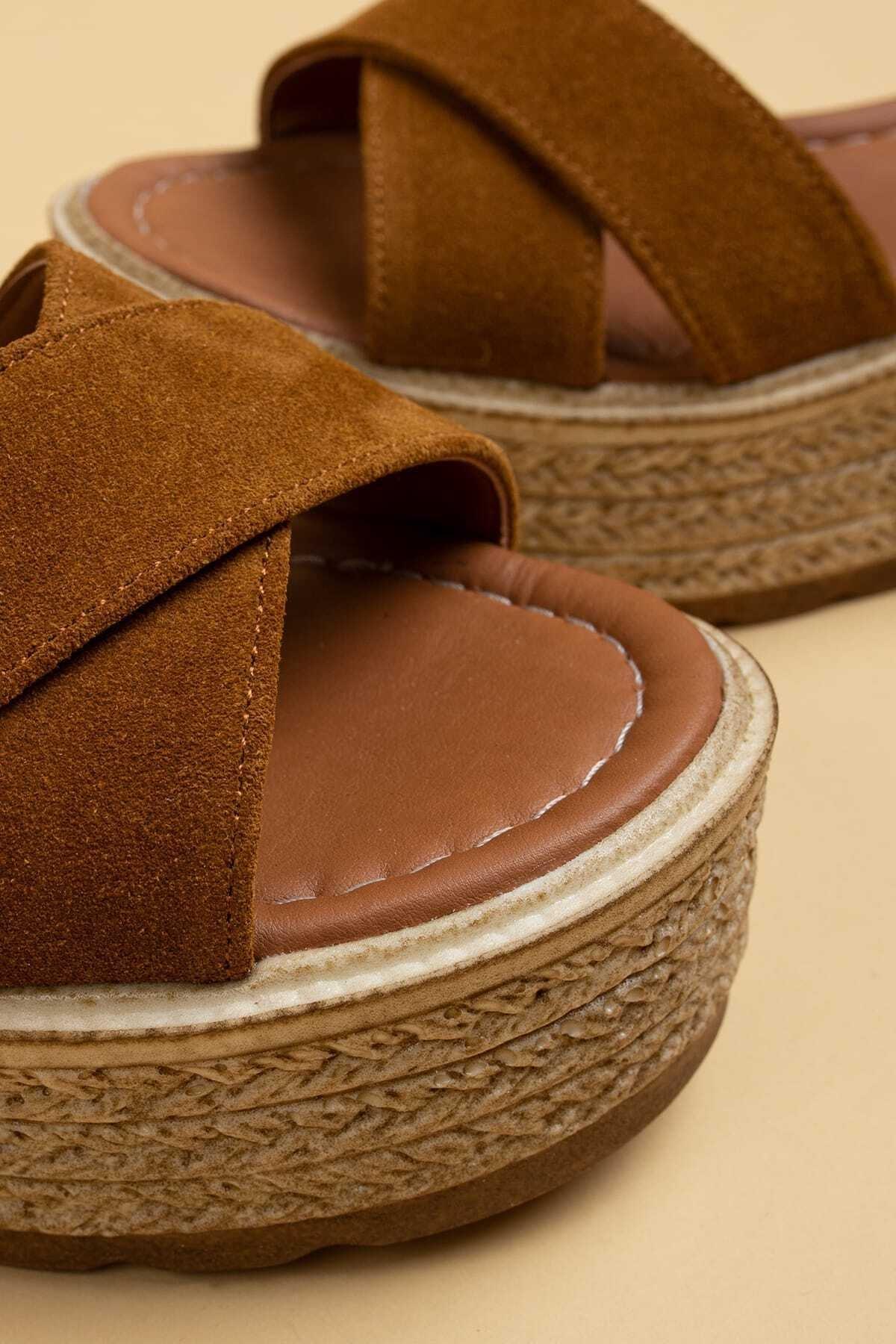 Deery Hakiki Süet Taba Rengi Kadın Sandalet 2