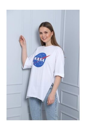 Latte Women Dnz-nasa Baskılı Beyaz Yırtmaçlı Tişört