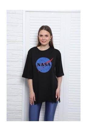 Latte Women Dnz-nasa Baskılı Siyah Yırtmaçlı Tişört