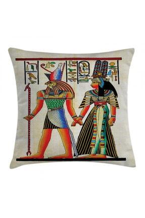 Orange Venue Rengarenk Minder Kılıfı Antik Mısır Desenli