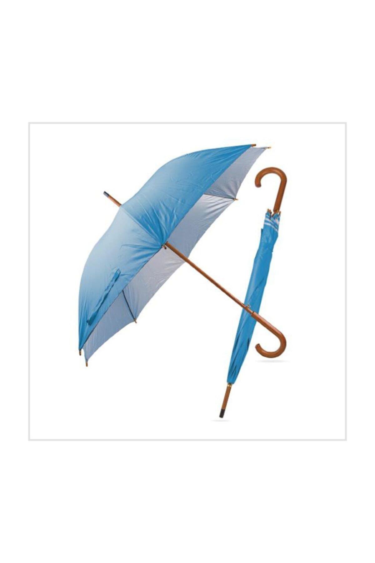 TREND Ahşap Saplı Fiber Glass Kırılmaz Şemsiye (mavi) 1