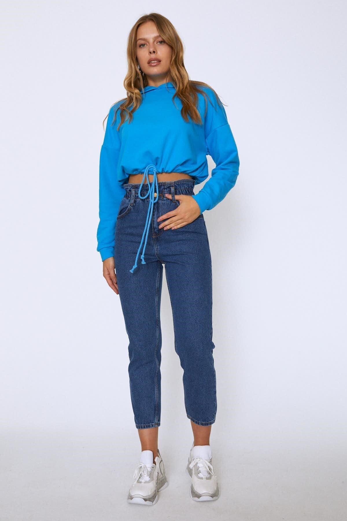 Quzu Kadın Yüksek Bel Beli Büzgülü Pantolon Mavi 20Y72131-009