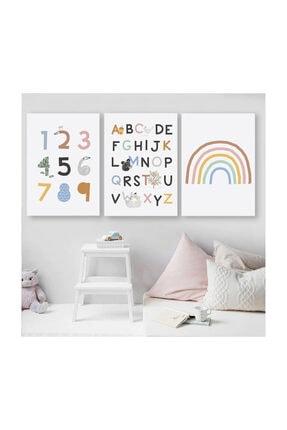 PopŞeker Çerçevesiz Fotoğraf Kağıdına Hd Baskı 3'lü Çocuk Odası Poster Seti Büyük Boy 30x42cm