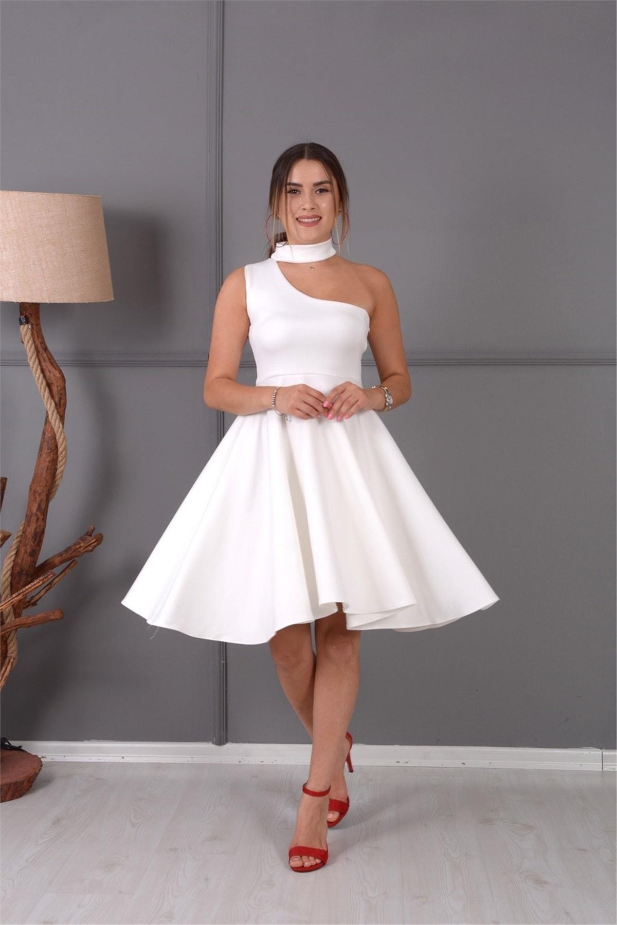 giyimmasalı Mini Elbise Beyaz 2